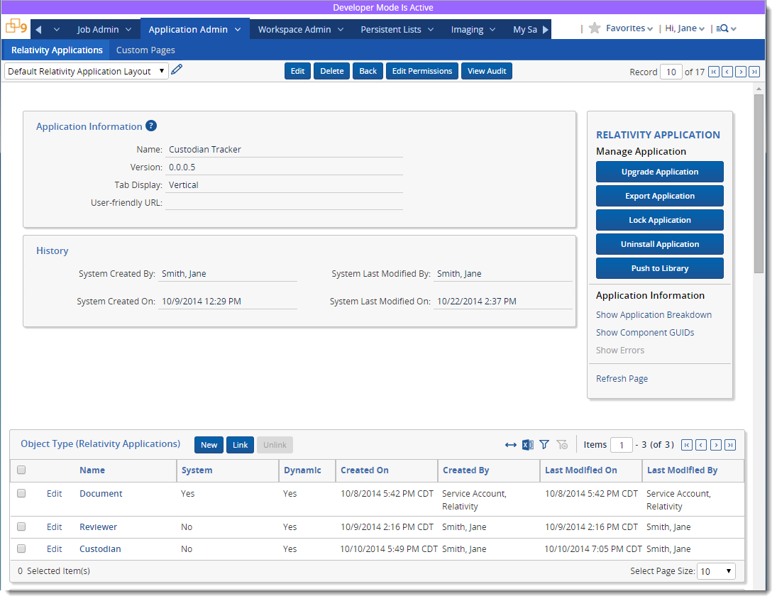 Create An Application In Relativity Scr Applications Detail View Of